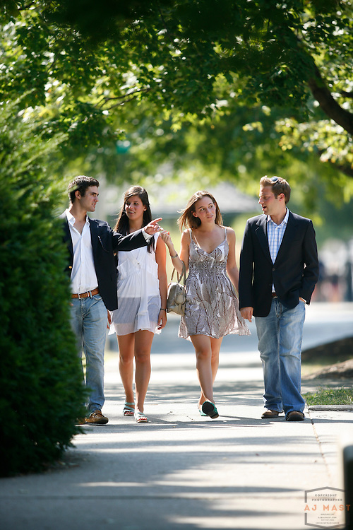 Alex Katz, blond, Matthew Burlant, dark hair, Erica Mitchell, white top, and Caitlin Keating, brown dress, pose for portraits at Indiana University in Bloomington, Ind., Wednesday, Aug. 27, 2008.  ( Photo by AJ Mast)