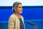 Koningin Maxima, als speciale pleitbezorger van de VN secretaris-generaal voor inclusieve financiering voor ontwikkeling (UNSGSA), tijdens de opening van de 26e bijeenkomst van de Egmont Groep. <br /> <br /> Queen Maxima, as a special advocate of the UN Secretary General for Inclusive Financing for Development (UNSGSA), at the opening of the 26th meeting of the Egmont Group.