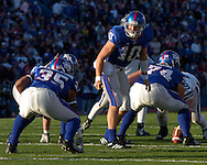 University of Kansas quarterback Kerry Meier (10) changes the play as he looks back at running back Brandon McAnderson (35) in the first half at Memorial Stadium in Lawrence, Kansas, November 18, 2006.  Kansas beat K-State 39-20.<br />