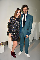 Charlotte de Carle and Richard Biedul at the LFW Sponge Bob Gold presentation at The Atrium, The Store Studios, 180 The Strand, London England. 18 February 2017.