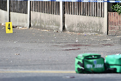 © Licensed to London News Pictures. 24/06/2018. London, UK. Blood on the floor at the scene where a 15 year old boy was stabbed to death at North Romford Community on Saturday night. Three teenagers have been arrested in connection with the death. Photo credit: Ben Cawthra/LNP