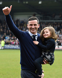 St Mirren manager Jack Ross celebrates with his family after  the Ladbrokes Scottish Championship match at the Paisley 2021 Stadium.