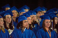 Henry Armando Oram Allen listens attentively with his fellow graduates during Gilford High School's commencement exercises at Meadowbrook Pavilion Saturday morning.  (Karen Bobotas/for the Laconia Daily Sun)Gilford High School Graduation at Meadowbrook Pavilion Saturday, June 11, 2011.Gilford High School graduation June 11, 2011.