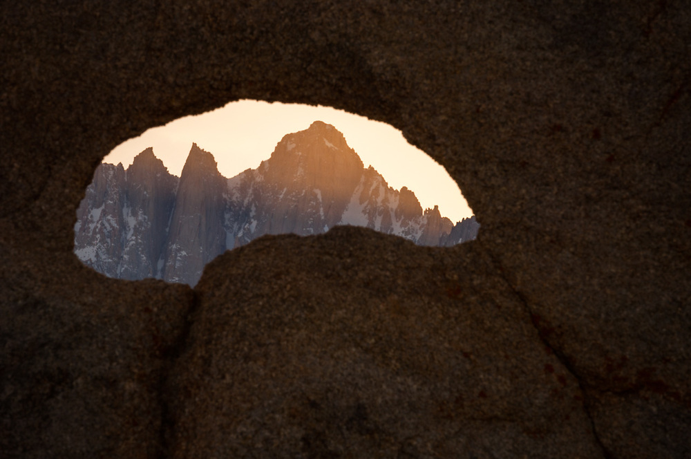 Summit of Mount Whitney, highest peak in the contiguous United States, elevation 14,505 feet, April, evening light, view from the Alabama Hills Recreation Area, U.S. Bureau of Land Management, Whitney Portal, eastern Sierra Mountains, Inyo County, California, USA