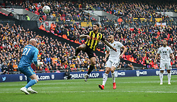 Andre Gray of Watford misses a chance to score as he lifts the ball over John Ruddy of Wolverhampton Wanderers - Mandatory by-line: Arron Gent/JMP - 07/04/2019 - FOOTBALL - Wembley Stadium - London, England - Watford v Wolverhampton Wanderers - Emirates FA Cup Semi Final