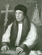 William Warham (c1450-1532) English churchman and statesman. Archbishop of Canterbury, Lord Chancellor under Henry VII and the beginning of the reign of Henry VIII. In 1515 he had to resign the Great Seal of State to Thomas Wolsey. Engraving