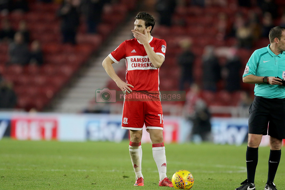 Middlesbrough's Stewart Downing ponders over a free kick