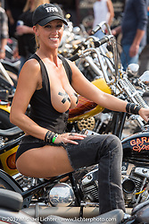 Angie Renner at Mondo's Denvers Choppers vintage bike show at the Iron Horse Saloon during the annual Sturgis Black Hills Motorcycle Rally. Sturgis, SD. USA. Saturday August 5, 2017. Photography ©2017 Michael Lichter.