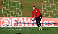 CARDIFF, WALES - Sunday, November 18, 2018: Wales' goalkeeper Daniel Ward during a training session at the Vale Resort ahead of the International Friendly match between Albania and Wales. (Pic by David Rawcliffe/Propaganda)
