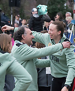 Greater London. United Kingdom, Cambridge Women's Squad celebrate. University Boat Races , Cambridge University vs Oxford University. Putney to Mortlake,  Championship Course, River Thames, London. <br /> Left. Technical Coach. Miles FORBES THOMAS and CUWBC blue boat stroke, Olivia COFFEY.<br /> Saturday  24.03.18<br /> <br /> [Mandatory Credit  Intersport Images]<br /> <br /> Saturday  24.03.18<br /> <br /> [Mandatory Credit  Intersport Images]
