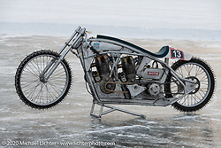Russian customizer Dima (Dmitry Golubchikov) of Zillers Garage built this full custom, all aluminum, methanol fueled land speed racer (LSR) powered by two Jawa 500cc engines. It was raced at the Baikal Mile Ice Speed Festival. Maksimiha, Siberia, Russia. Saturday, February 29, 2020. Photography ©2020 Michael Lichter.