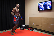 LAS VEGAS, NV - JULY 8:  Khalil Roundtree warms up in the locker room before The Ultimate Fighter Finale at MGM Grand Garden Arena on July 8, 2016 in Las Vegas, Nevada. (Photo by Cooper Neill/Zuffa LLC/Zuffa LLC via Getty Images) *** Local Caption *** Khalil Roundtree