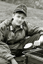 Young German Panzer Grenadier wearing Splinter Pattern smock with mess tin, Eastern front 1943 on - Nww2A Fort Paull<br /> <br />  Copyright Paul David Drabble<br /> 5th & 6th May 2019<br />  www.pauldaviddrabble.co.uk