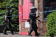 Birmingham, United Kingdom, June 15, 2021: Members of Protestor Removal Police Unit are seen entering the Arconic site factory in Birmingham on Tuesday, June 15, 2021. (VX Photo/ Vudi Xhymshiti)