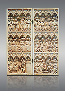 Medieval Gothic ivory diptych with scenes from the Passion made in Paris in the second quarter of the 14th century.  inv 10006, The Louvre Museum, Paris.<br /> <br /> If you prefer you can also buy from our ALAMY PHOTO LIBRARY  Collection visit : https://www.alamy.com/portfolio/paul-williams-funkystock . Type -    Medieval Ivory     - into the LOWER SEARCH WITHIN GALLERY box. Refine search by adding background colour, place, museum etc<br /> <br /> Visit our MEDIEVAL ART PHOTO COLLECTIONS for more   photos  to download or buy as prints https://funkystock.photoshelter.com/gallery-collection/Medieval-Middle-Ages-Art-Artefacts-Antiquities-Pictures-Images-of/C0000YpKXiAHnG2k