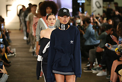Models on the runway during 'Streets of EQT', a street style presentation to celebrate Hailey Baldwin's new Adidas EQT campaign during London Fashion Week SS18 held at The Old Truman Brewery, London. Picture Date: Friday 15 September. Photo credit should read: Isabel Infantes/PA Wire