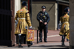 Members of the band of the Grenadier Guards arrive at Windsor Castle to take part in the funeral of the Duke of Edinburgh on 17th April 2021 in Windsor, United Kingdom. The funeral of Prince Philip, Queen Elizabeth II's husband, is taking place at St George's Chapel in Windsor Castle, with the ceremony restricted to 30 mourners in accordance with current coronavirus restrictions.