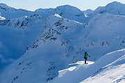 Jasmin Caton, guide and owner/operator of Valhalla Mountain Touring, out for a stroll in her backyard. Selkriks, BC
