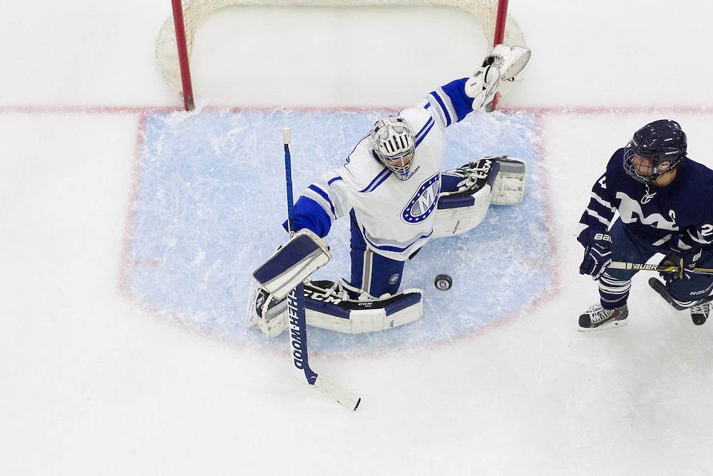 Emerson Verrier, of Colby College, in a NCAA Division III hockey game against the Middlebury College on November 16, 2014 in Waterville, ME. (Dustin Satloff/Colby College Athletics)