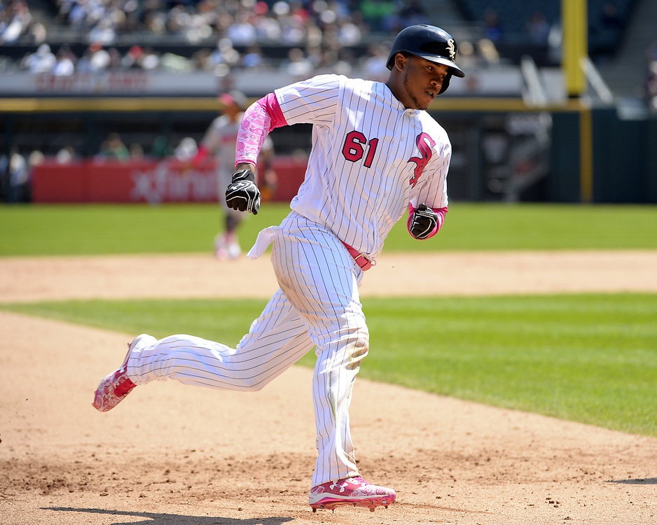 CHICGO - MAY 14:  Willy Garcia #61 of the Chicago White Sox runs the bases against the San Diego Padres on May 14, 2017 at Guaranteed Rate Field in Chicago, Illinois.  The White Sox defeated the Padres 9-3 .  (Photo by Ron Vesely)  Subject: Willy Garcia