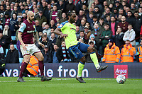 Aston Villa v Derby County - Sky Bet Championship<br /> BIRMINGHAM, ENGLAND - APRIL 28 :  Derby County's Cameron jerome gets on the ball, with Aston Villa's Alan Hutton in close attendance