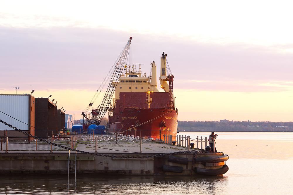 Cleveland, Ohio, United States - Cargo ship on the shores of Lake Erie.