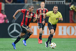 September 22, 2018 - Atlanta, GA, U.S. - ATLANTA, GA Ð SEPTEMBER 22:  Atlanta's Darlington Nagbe (6) moves the ball up the field during the match between Atlanta United and Real Salt Lake on September 22nd, 2018 at Mercedes-Benz Stadium in Atlanta, GA.  Atlanta United FC defeated Real Salt Lake by a score of 2 to 0.  (Photo by Rich von Biberstein/Icon Sportswire) (Credit Image: © Rich Von Biberstein/Icon SMI via ZUMA Press)