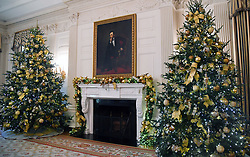 Christmas trees and holiday decorations are seen in the State Dinner Room of the White House in Washington, DC, November 27, 2017. . Photo by Olivier Douliery/Abaca Press