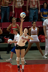 09 OCT 2005 Bradley's Nikki Pierzchala adds some fingertip control to a serve. The Illinois State University Redbirds hosted arch rival Bradley University Braves.  The Redbirds soared over the Braves, taking the match in 4 games, losing only game number 2.  Action included play by Braves Star Lindsey Stalzer who is ranked no. 7 in the nation in kills per game.  The first defeat of the conference season for the Braves took place at Redbird Arena on Illinois State's campus in Normal IL.