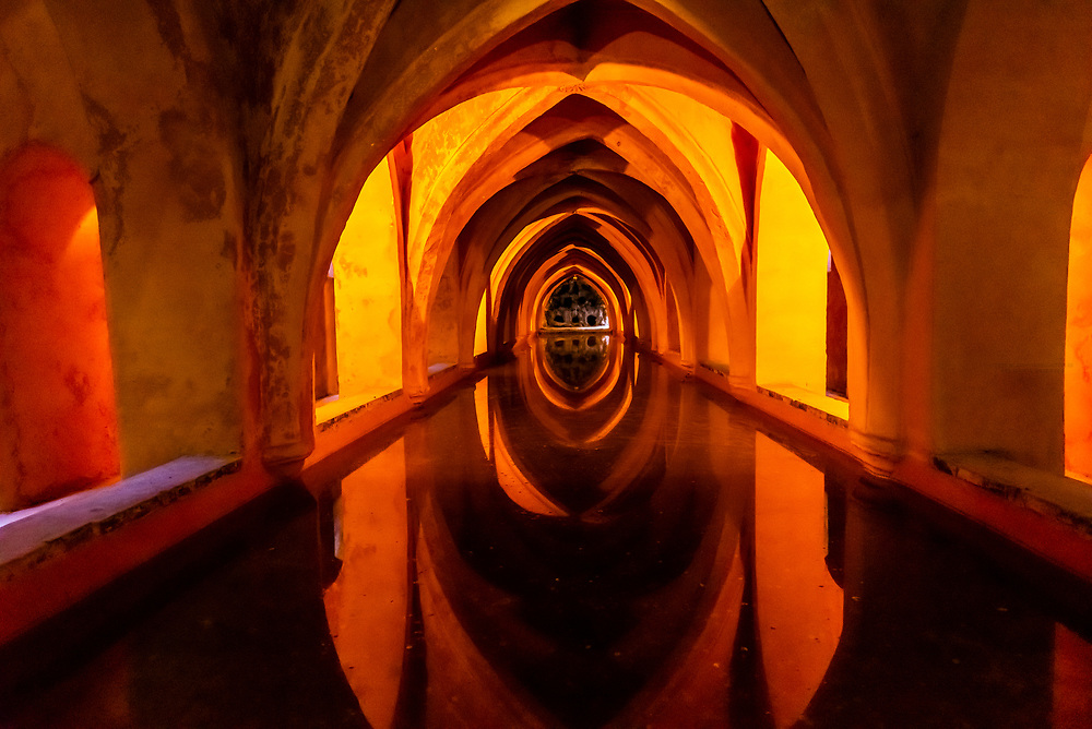 The Baths of Dona Maria de Padilla,The Alcázar of Seville (Real Alcazar) is a royal palace in Seville, Spain, built for the Christian king Peter of Castile.