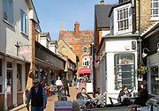 Cafes in historic street in town of Saffron Walden, Essex, England, UK