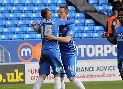 Harry Beautyman of Peterborough United celebrates scoring his goal with Aaron Williams of Peterborough United. - Mandatory by-line: Joe Dent/JMP - 02/04/2016 - FOOTBALL - ABAX Stadium - Peterborough, England - Peterborough United v Crewe Alexandra - Sky Bet League One