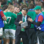 Irish defense coach Les Kiss (centre) celebrates with players after the Ireland V Italy Pool C match during the IRB Rugby World Cup tournament. Otago Stadium, Dunedin, New Zealand, 2nd October 2011. Photo Tim Clayton...