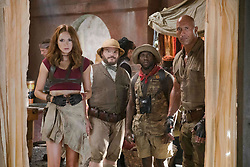 Karen Gillan, Jack Black, Kevin Hart and Dwayne Johnson star in JUMANJI: WELCOME TO THE JUNGLE.