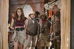 Karen Gillan, Jack Black, Kevin Hart and Dwayne Johnson star in JUMANJI: WELCOME TO THE JUNGLE.