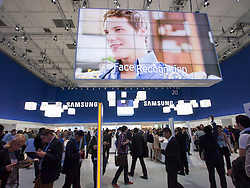 Crowded Samsung hall on Friday 31 August 2012, the opening day of the annual IFA (or Internationale Funkausstellung ) consumer electronics and electrical products show held in Berlin Messe Trade Show Halls Germany