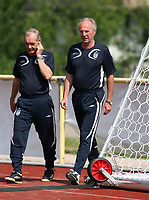 Photo: Chris Ratcliffe.<br />England Training Session. FIFA World Cup 2006. 29/06/2006.<br />Sven Goran Eriksson and Tord Grip arrive for training.
