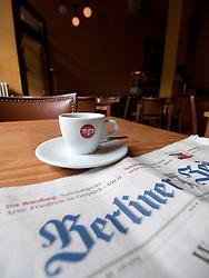 Interior of Jewish kosher Cafe Orange in historic Scheunenviertel district of Berlin Germany