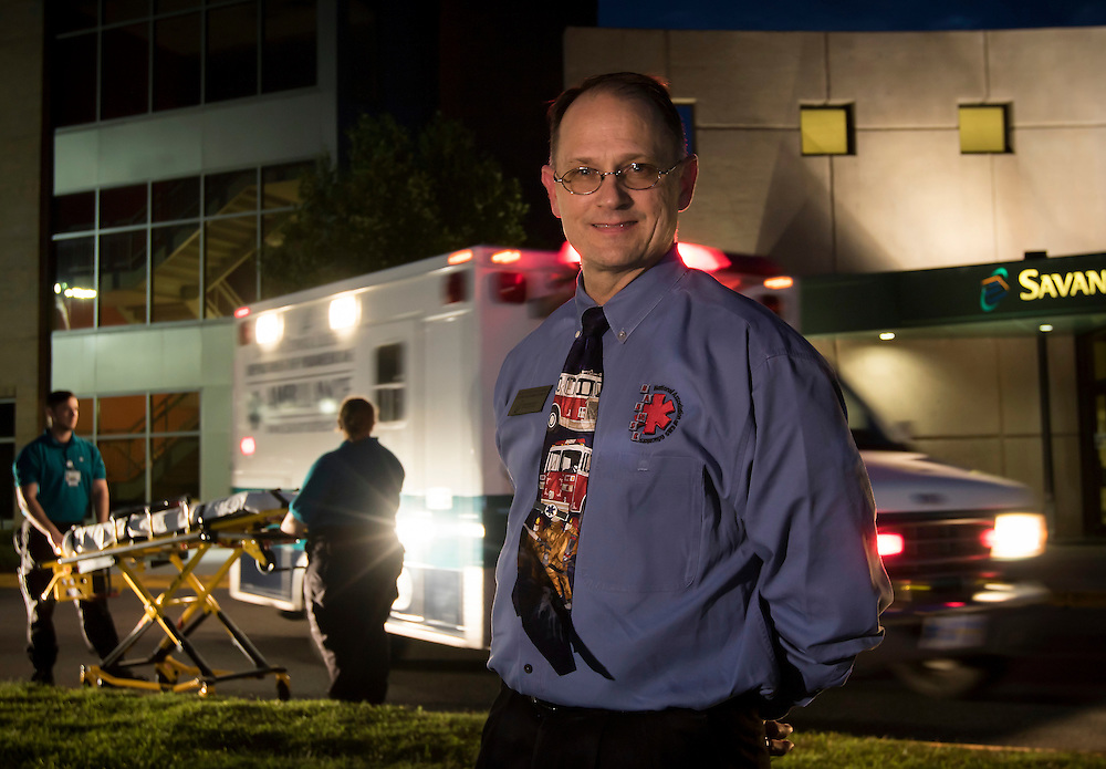 Savannah Technical College Department Head for Emergency Medical Services and Paramedicine Walter Webel stands near the STC ambulance, Thursday, June 11, 2015, in Savannah, Ga.  (STC Photo/Stephen B. Morton)