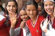 India, Nagar, Kullu District, Himachal Pradesh, Northern India, A school in Nagar, the pupils playing out side in the yard