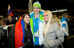Miha Verlic at reception of Slovenia team arrived from Winter Olympic Games Sochi 2014 on February 19, 2014 at Airport Joze Pucnik, Brnik, Slovenia. Photo by Vid Ponikvar / Sportida