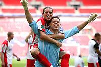 Gary Mills celebrates with reserve goalkeeper Ashley Bayes<br /> Stevenage Borough vs York City <br /> Carlsberg FA Trophy Final at Wembley Stadium 2/05/2009<br /> Credit Colorsport / Shaun Boggust