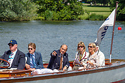 Henley on Thames, England, United Kingdom, 3rd July 2019, Henley Royal Regatta  Time keepers and race officials at the back of the umpires launch, Henley Reach, [© Peter SPURRIER/Intersport Image]<br /> <br /> 11:42:13 1919 - 2019, Royal Henley Peace Regatta Centenary,