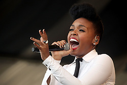 29 April 2012. New Orleans, Louisiana,  USA. <br /> New Orleans Jazz and Heritage Festival. <br /> Janelle Monáe, award winning R&B soul singer.<br /> Photo; Charlie Varley/varleypix.com