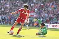 Middlesbrough forward, on loan from Watford, Diego Fabbrini scores Middlesbrough 3rd goal during the Sky Bet Championship match between Middlesbrough and Leeds United at the Riverside Stadium, Middlesbrough, England on 27 September 2015. Photo by Simon Davies.