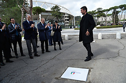 March 12, 2018 - Rome, Italy - The ceremony Walk of Fame in Rome, Italy, on 12 March 2018. The Walk of Fame is enriched with 5 more samples. Along the Via Olimpiadi, which leads straight to the Olympic stadium in Rome, new plates have been added dedicated to five blue champions no longer in business: the historic Milan captain and national defender, soccer player Paolo Maldini (in picture), the swimmer Massimiliano Rosolino, the middle distance runner Luigi Beccali, the cyclist Ercole Baldini and the volleyball player Samuele Papi. (Credit Image: © Silvia Lore/NurPhoto via ZUMA Press)