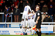 Coventry players celebrate the first goal during the EFL Sky Bet League 1 match between Peterborough United and Coventry City at London Road, Peterborough, England on 16 March 2019.