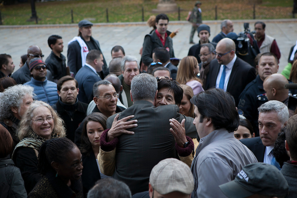 Bill de Blasio hugs a supporter after a rally at City Hall with group Latinos for De Blasio in New York, NY on Sunday, Nov. 3, 2013.<br /> <br /> CREDIT: Andrew Hinderaker for The Wall Street Journal<br /> SLUG: NYMAYOR
