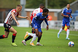 Jevani Brown of Colchester United and Dylan Fage of Oldham Athletic tussle for the ball - Mandatory by-line: Arron Gent/JMP - 03/10/2020 - FOOTBALL - JobServe Community Stadium - Colchester, England - Colchester United v Oldham Athletic - Sky Bet League Two