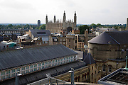 General cityscape  view over city centre rooftops looking towards King's College chapel, Cambridge, England